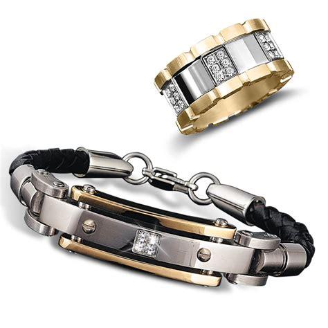 s leather bracelet and modena ring set