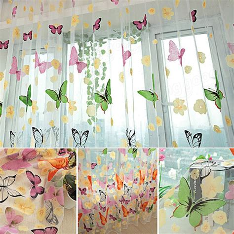 butterfly door curtain butterfly printed sheer window curtains tulle door window