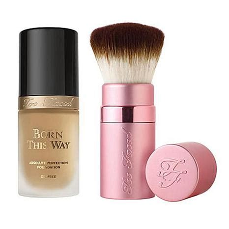 faced born this way foundation light beige faced born this way foundation kabuki brush light