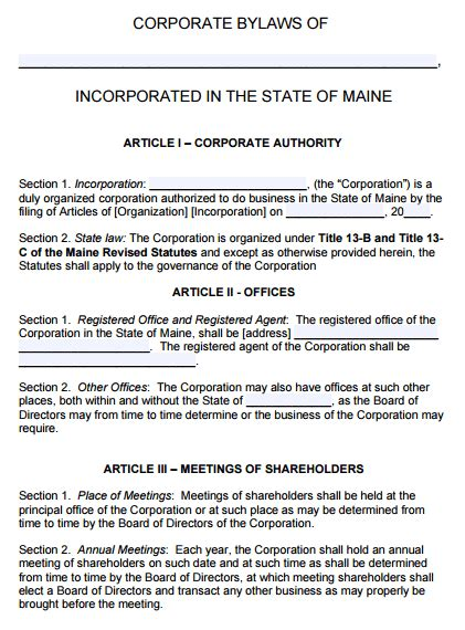 free maine corporate bylaws template pdf word