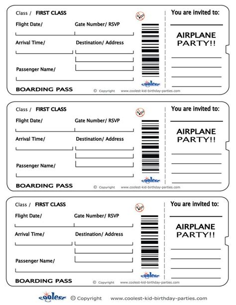 pretend plane ticket template printable airplane boarding pass invitations coolest
