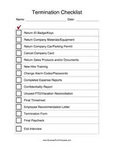 termination checklist template search results for letter of termination of employment