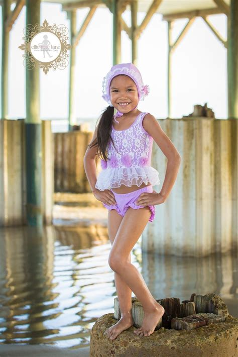 child model lane lace flower lavender rosettes tutu two piece swimsuit and