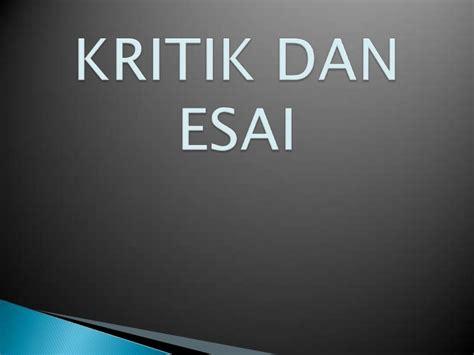 Kritik Indonesia kritik dan esai