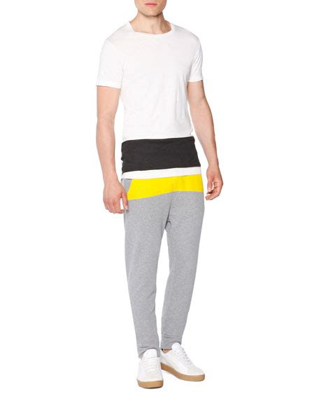 Striped Jogger Sweatpants tomas maier jogger sweatpants with yellow stripe gray