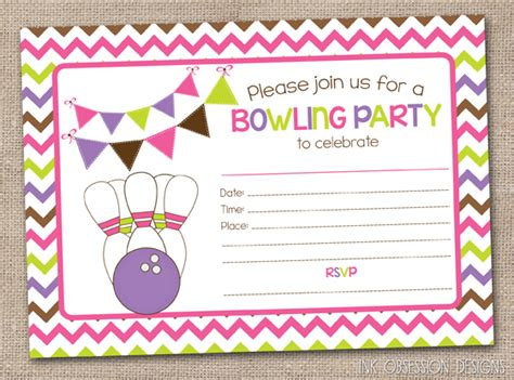 printable birthday party invitations bowling ink obsession designs lots of new instant download fill