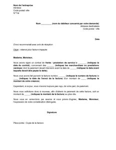 Lettre De Motivation De Relance Modele Lettre Facture Impayee Document