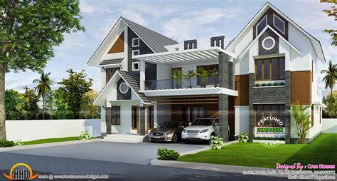 slope roof low cost home design kerala and floor plans modern sloped roof home kerala design floor plans house