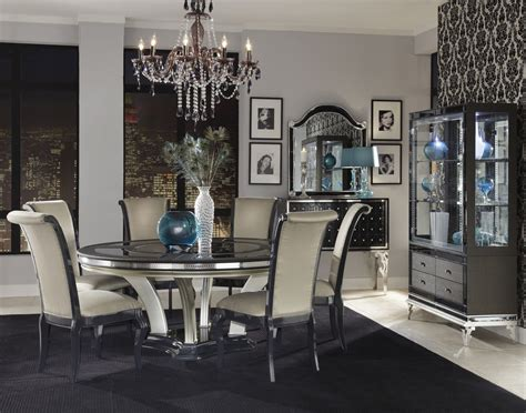 michael amini hollywood swank bedroom aico hollywood swank caviar round dining set nu03001 85