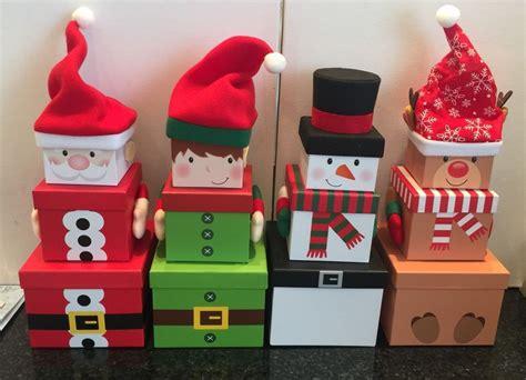 novelty santa elf reindeer stacking boxes tower  treat gift idea christmas eve ebay