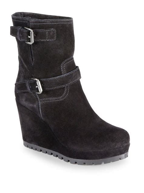 prada suede doublebuckle midcalf wedge boots in black