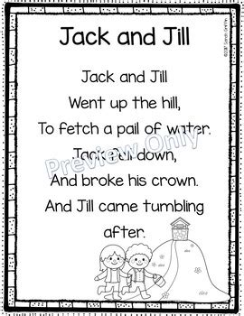 year 1 poetry pattern and rhyme planning jack and jill printable nursery rhyme poem for kids by