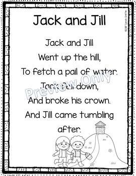 year 1 poetry unit 2 pattern and rhyme jack and jill printable nursery rhyme poem for kids