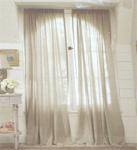 simply shabby chic embroidered linen gray window panels