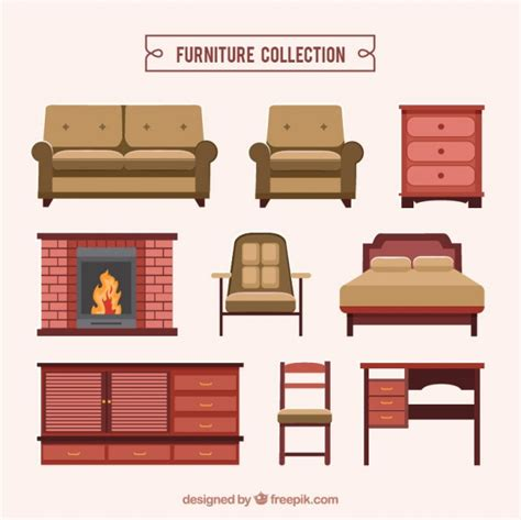 Furniture Collection Realistic Furniture Collection Vector Free