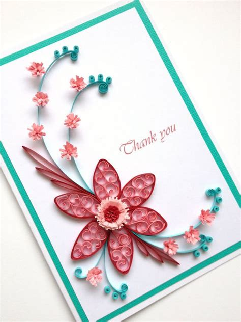 Handmade Paper Quilling - paper quilling thank you card quilled handmade paper by