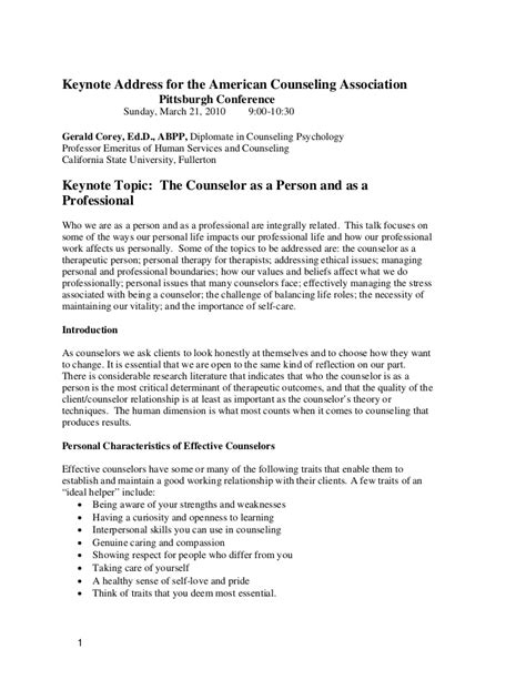 Substance Sbuse Counselors Essay by Counselor As Person And Professionals