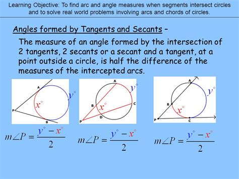 easy secants tangents and angle measures worksheet