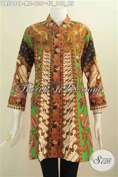 Supplier Baju Jawa Tengah jual dress batik printing model kerah shanghai baju batik halus khas jawa tengah untuk