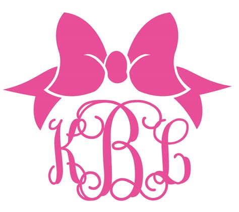 bow decal custom monogrammed preppy bow decal
