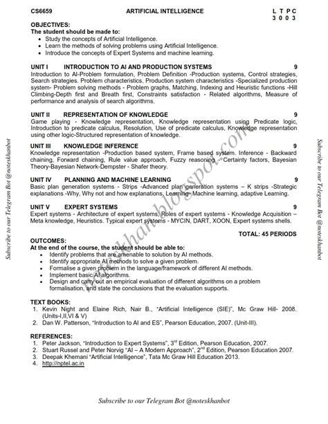 Mba Syllabus Regulation 2013 Affiliated College by Cs6659 Artificial Intelligence Syllabus Semester Vi Cse