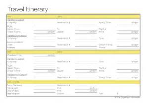 Free printable travel itinerary the organised housewife