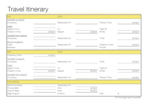 itinerary templates free printable travel itinerary the organised