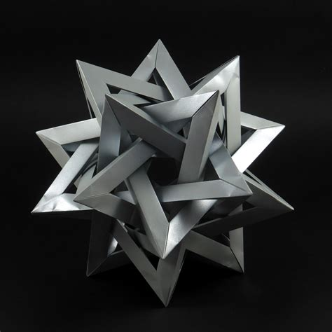 Origami Five Intersecting Tetrahedra - modular origami tangles and woven polyhedra folded by
