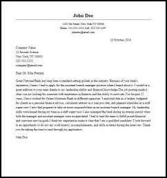 Professional Assistant Branch Manager Cover Letter Sample
