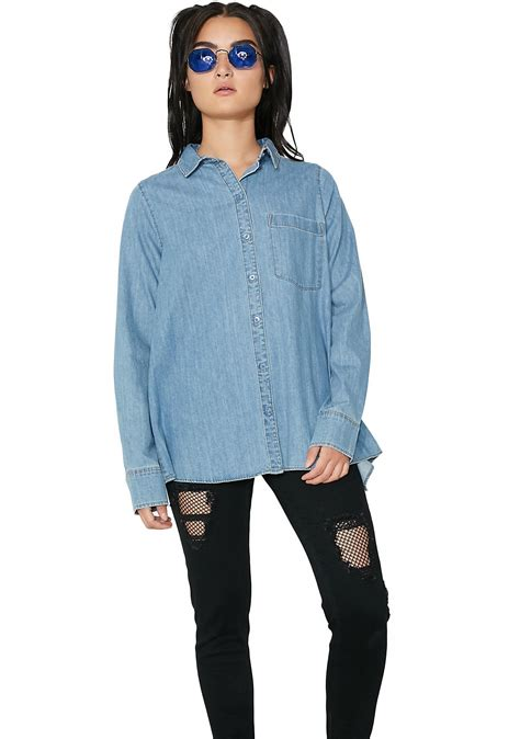 Cheap Monday By Ags Denim cheap monday denim airy shirt dolls kill