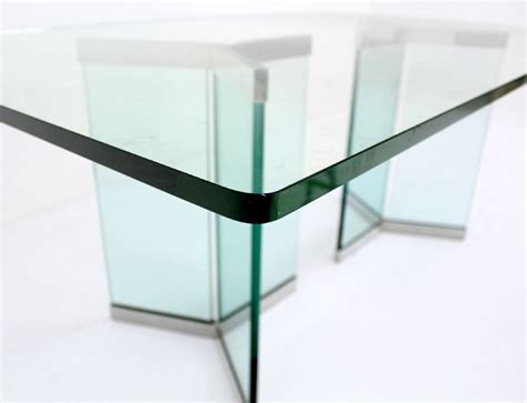 pace collection mid century modern glass dining table at - Modern Glass Dining Table