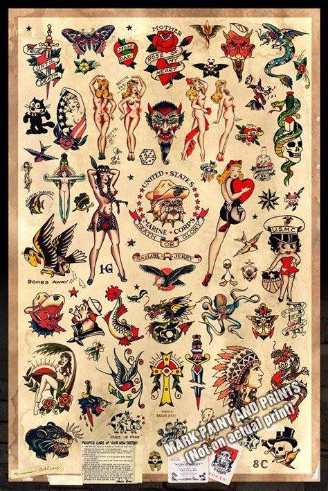 tattoo junkee free shipping sailor jerry tattoo flash 2 poster print 24 quot x36 quot free