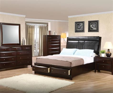 bedroom sets with leather headboards leather headboard storage bedroom set pheonix collection