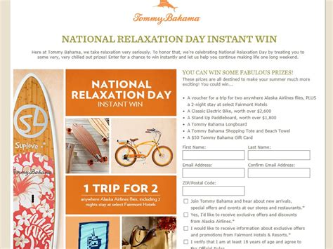 Tommy Bahama Sweepstakes - tommy bahama s quot national relaxation day quot instant win sweepstakes