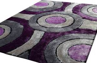 Shaggy living room area rug purple and grey hand tufted