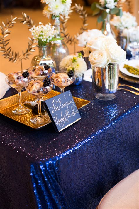 sparkly barn wedding ideas in gold blue wedding colors