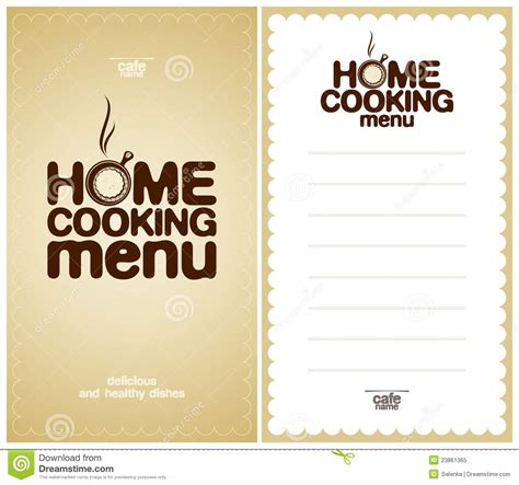 home menu template home cooking menu design template stock vector