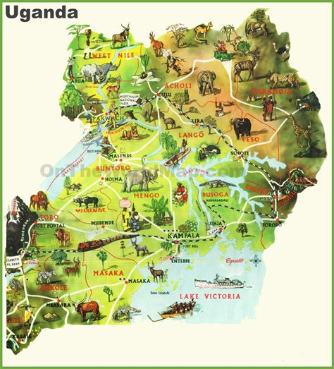 tourist map of with attractions uganda tourist map