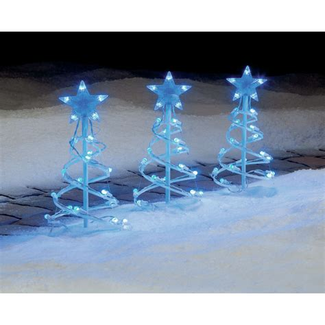 trim a home 174 blue led globe pathway spiral tree