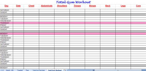 Workout sheet workout sheets template
