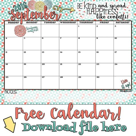 Kalender 2016 September September 2016 Calendar There Is Confetti Everywhere
