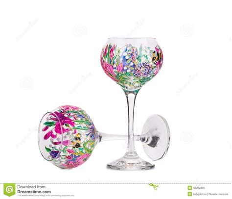 Handmade Wine Glasses - two handmade beautiful wine glasses stock photo image