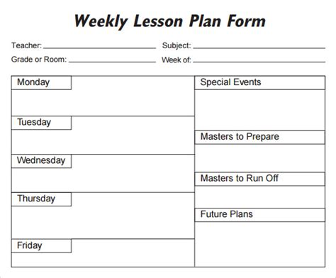 printable lesson plan calendar weekly lesson plan template pdf search results