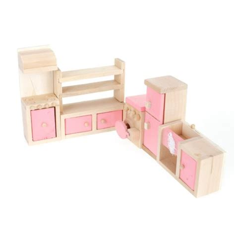 wooden dollhouse furniture kitchen set