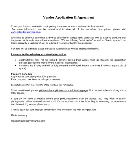 event vendor agreement template vendor application template 12 free word pdf documents
