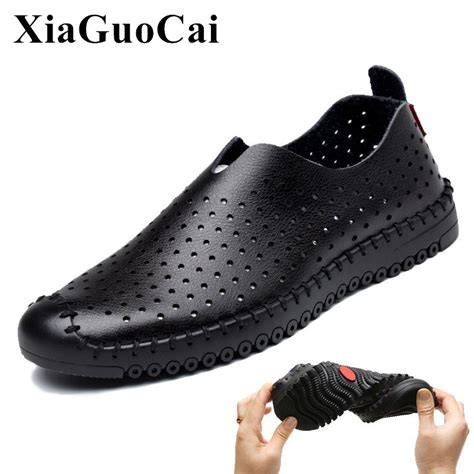 Flat Shoes Anti Licinalas Karet 1 summer s shoes genuine leather hollow breathable slip on casual shoes anti odor soft sole