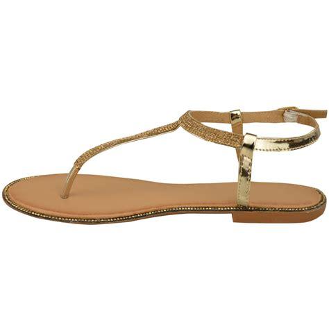 Sandal Flat Serut 3 Warna womens flat strappy sandals diamante summer toe post shoes size ebay