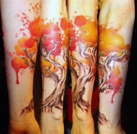 watercolor tattoos fire 70 watercolor tree designs for manly nature ideas