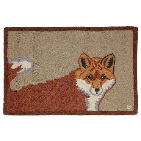 rugs with red accents red fox hooked wool accent rug
