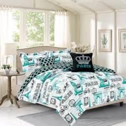 bedding twin 4 piece girls comforter bed set paris eiffel